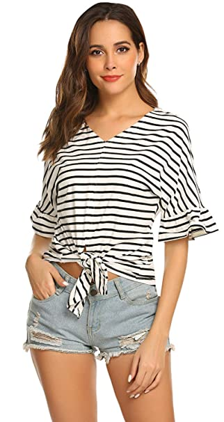 04568f37010 Amazon.com: POGTMM Women's Summer Casual V-neck Bell Short Sleeve ...