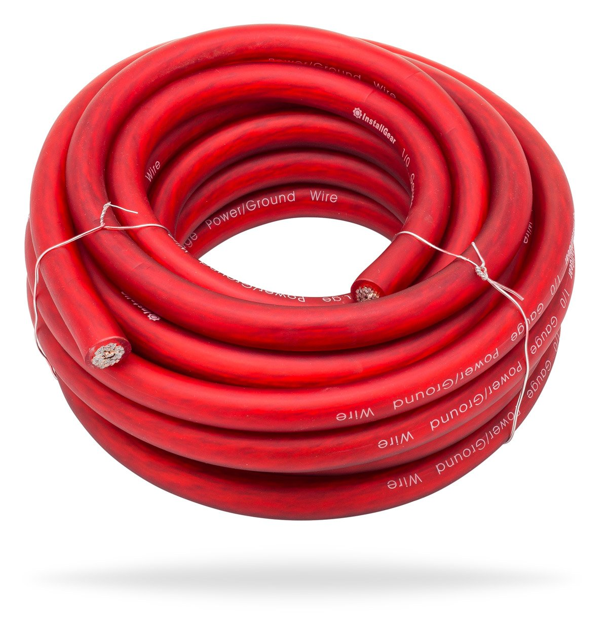 InstallGear 1/0 Gauge Red 25ft Power/Ground Wire True Spec and Soft Touch Cable by InstallGear