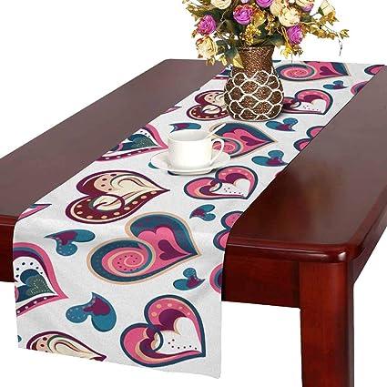 1529a1a4cf65 Amazon.com: INTERESTPRINT ADEDIY Table Runner Happy Valentine's Day ...