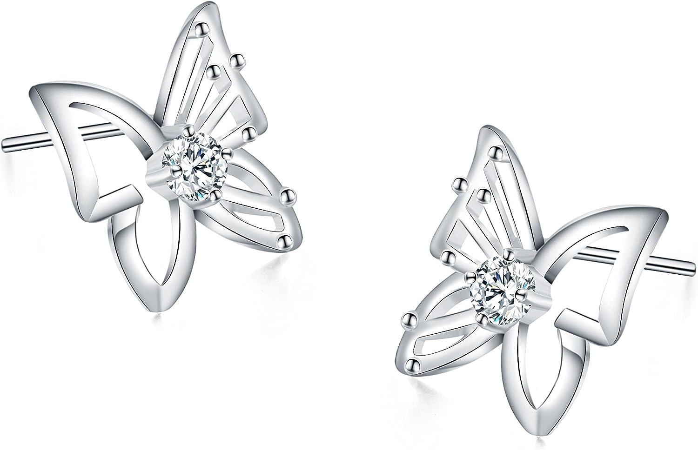 Boucles doreilles Papillon 925 Argent Sterling Papillon Clous doreille Bijoux pour Femmes Filles Cadeau de No/ël