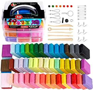 50 Colors Polymer Clay Starter Kit, 1oz/Block Oven Bake Modeling Clay, Moderately Firm, CiaraQ CPSC Conformed Non-Toxic Molding DIY Colorful Clay Assorted with Sculpting Tools for Kids, Artists.