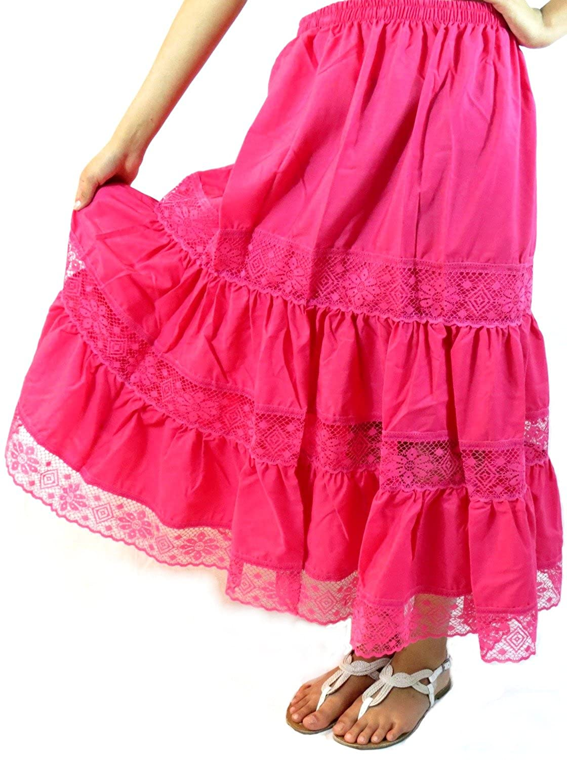 Women's Pink Cotton Mexican Lace Skirt - DeluxeAdultCostumes.com