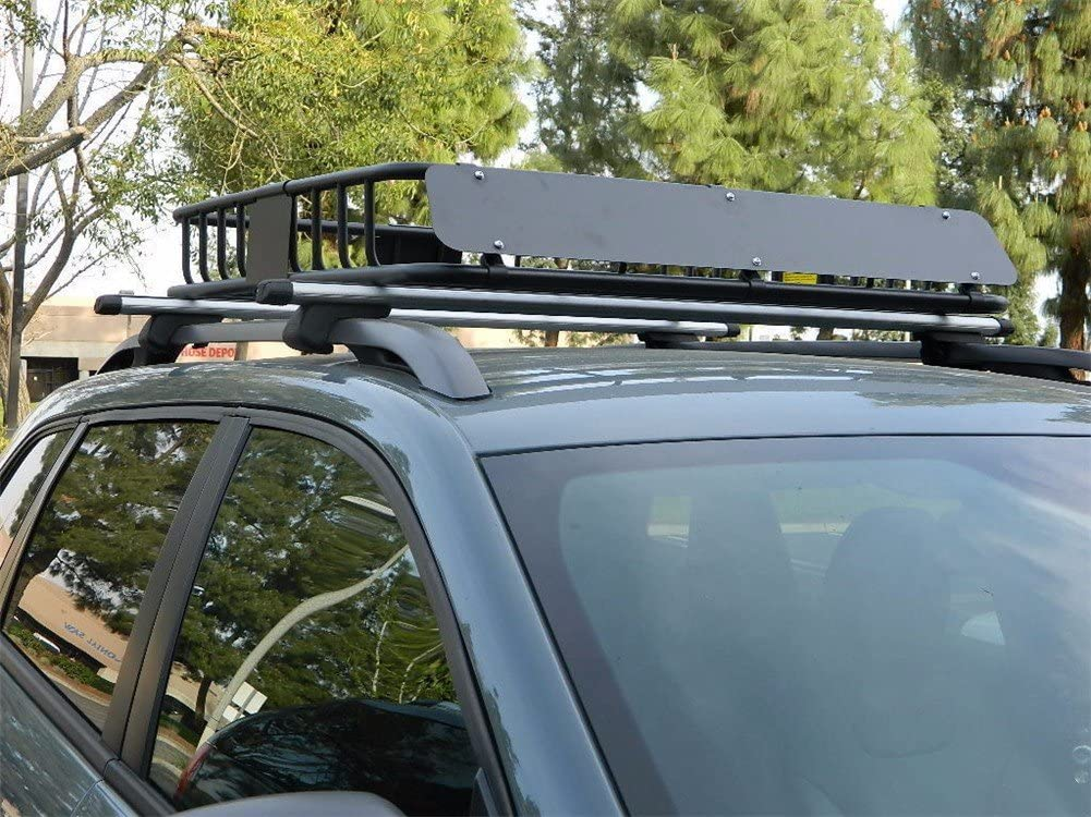 43 Universal Black Roof Rack Cargo Carrier w//Luggage Hold Basket SUV BC XHT