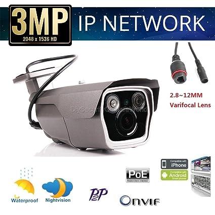Amazon com : 1080P HD IP Bullet Security Camera, PoE, Onvif, 2MP