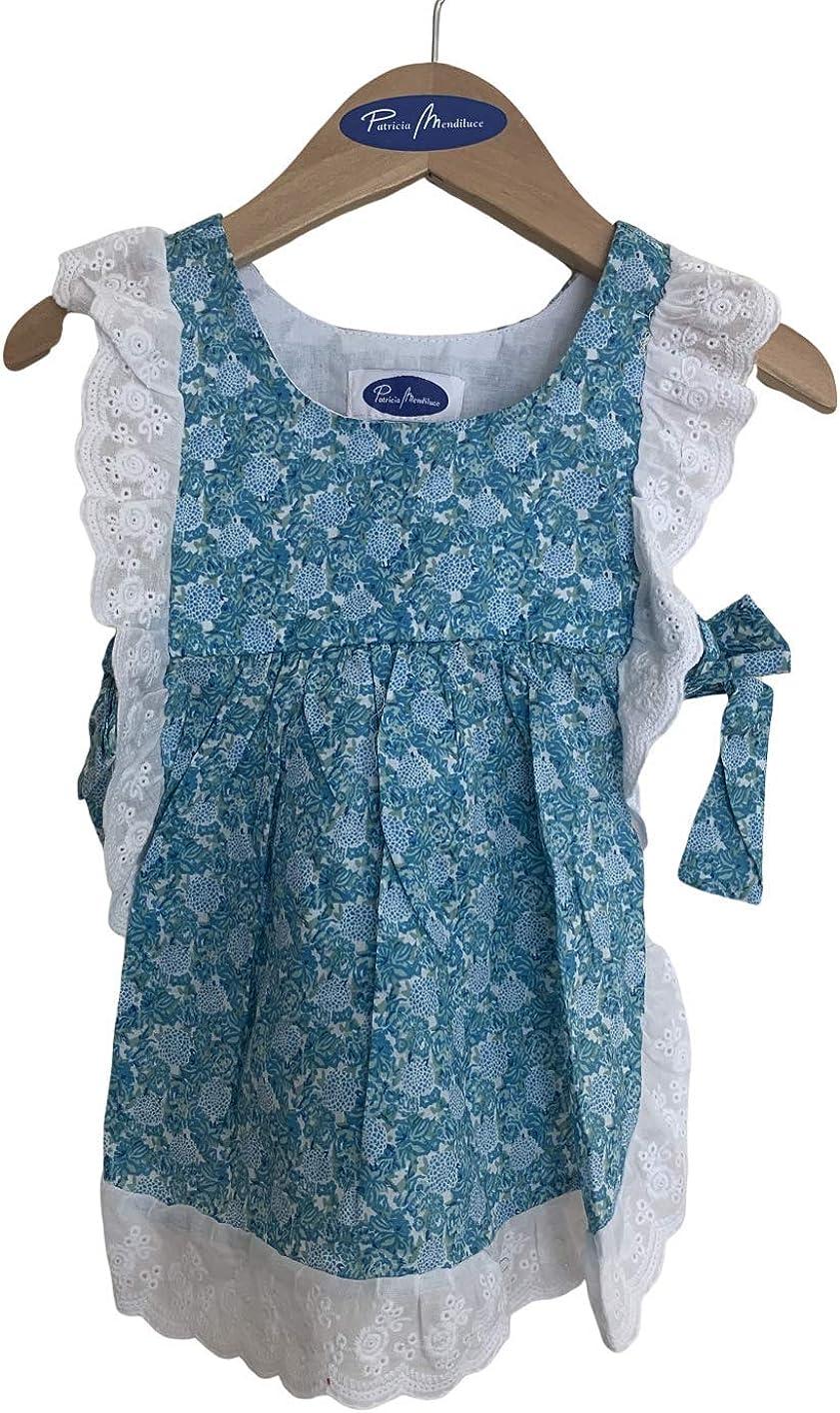 Conjunto Bebe Vestido Patricia Mendiluce Braguita volantitos Flores peque/ñas Azules