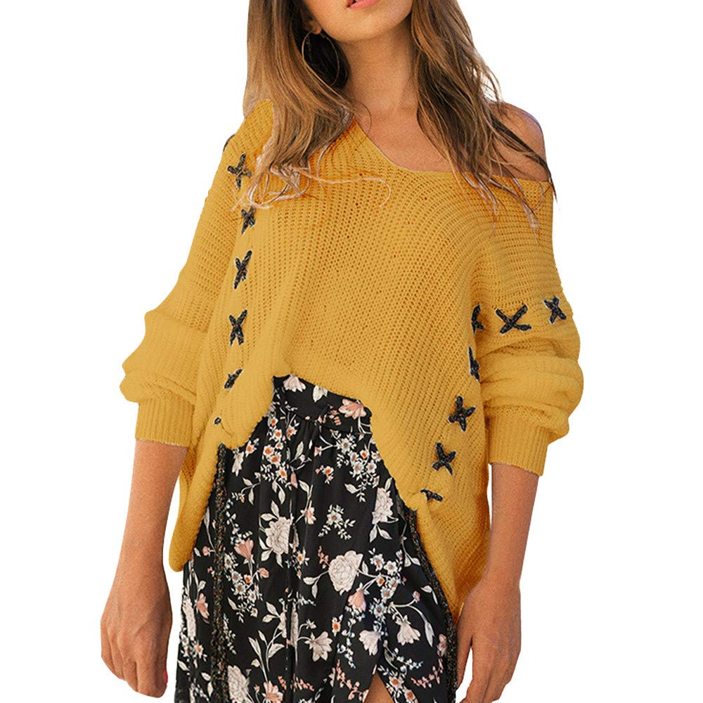 Liraly Womens Sweaters Cardigans New Fashion Women Winter Fashion Long Sleeve Knitted Bandage Tops Loose Sweater Blouse Cardigans(Yellow,US-6 /CN-M)