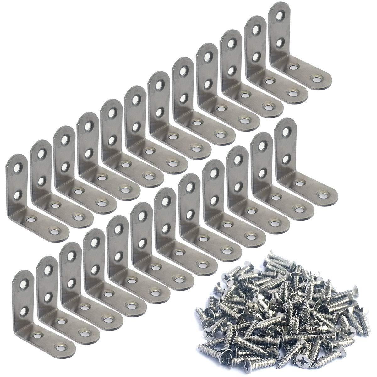 24 24 Pieces Stainless Steel Corner Brace 40mmx40mm Stainless Steel Brace Corner Steel Joint Right Angle Bracket Fastener with Screws