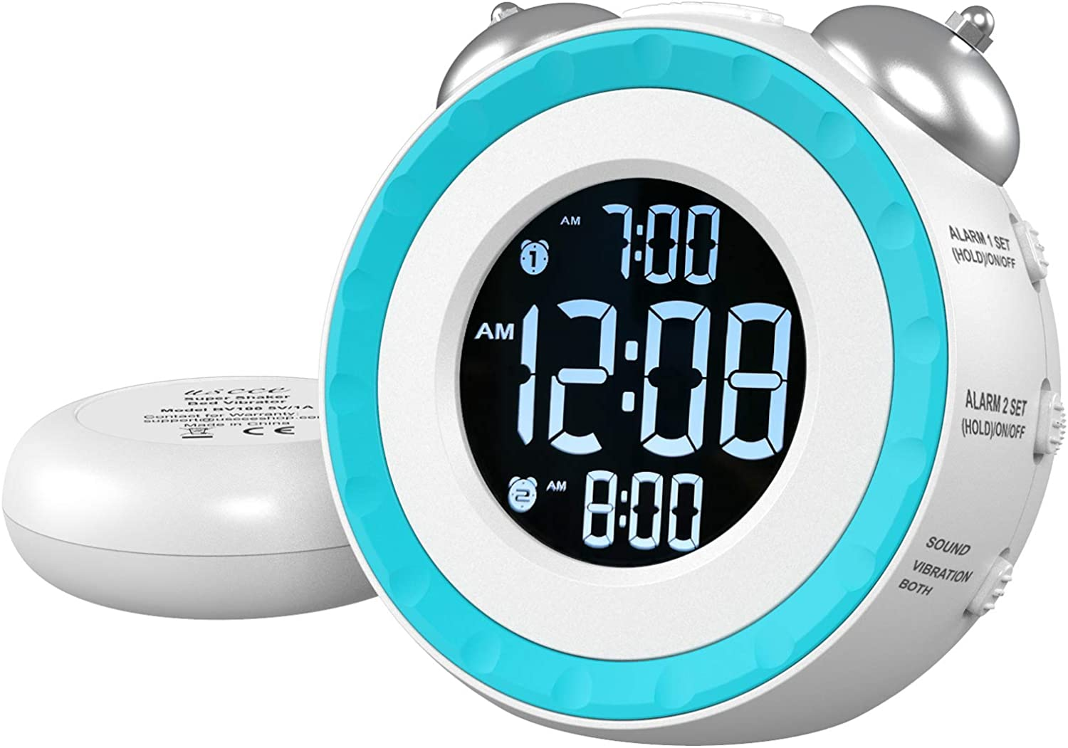 USCCE Loud Dual Alarm Clock with Bed Shaker - 0-100% Dimmer, Vibrating Alarm Clock for Heavy Sleepers or Hearing Impaired, Easy to Set, USB Charging Port, Snooze, Battery Backup (White)