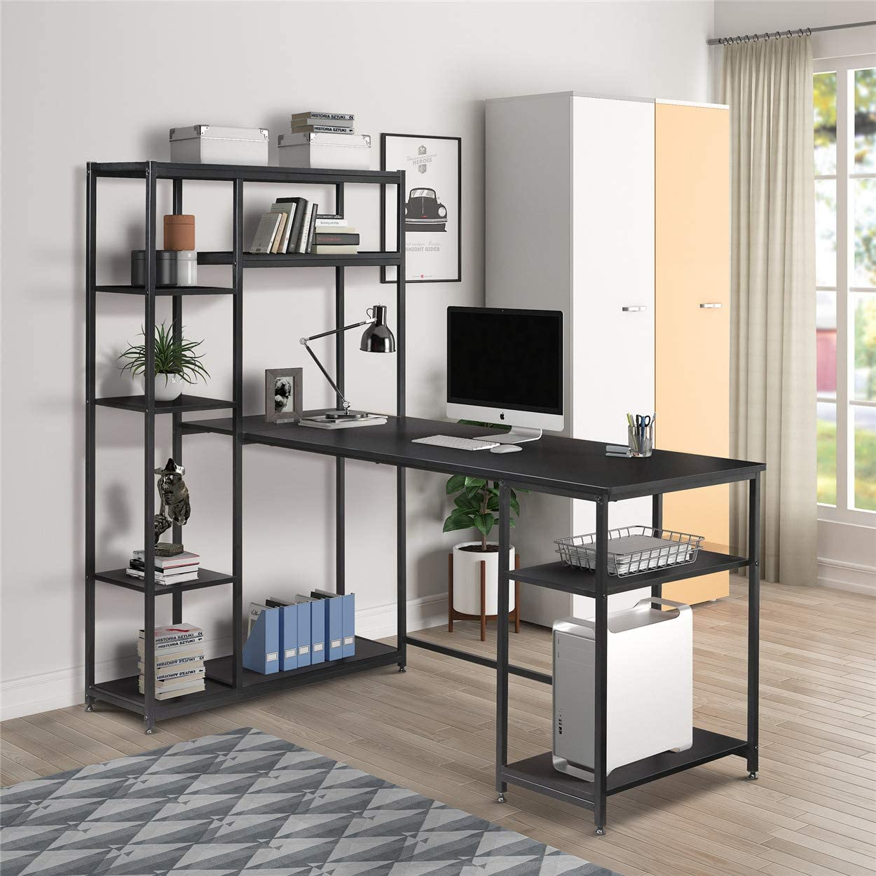 Office Computer Desk with Multiple Storage Shelves, Home Office Writing Desk with Metal Frame and Storage Bookshelf Black