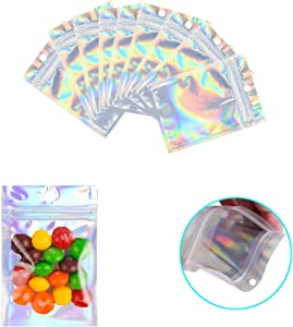 200 Pack Resealable Mylar Bags Smell Proof Pouch Aluminum Foil Packaging Plastic Ziplock Bag,Food Safe Small Mylar Storage Bags For Candy,Jewelry,Screw,2.8x3.9inch(Holographic Rainbow Color)