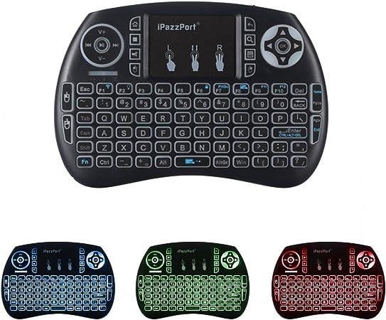 iPazzPort Mini Retroiluminado Teclado Inalámbrico con Touchpad 2.4GHz Mini Keyboard Teclado Ergonómico con Ratón Touchpad para Teclado Android tv, Smart TV: Amazon.es: Electrónica