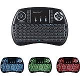 iPazzPort Mini Retroilluminato Tastiera Wireless Portable Keyboard 2.4GHz Ergonomica Mouse Touchpad per PC, Pad, Xbox 360, PS3, Google Android TV Box, HTPC/IPTV - Nero