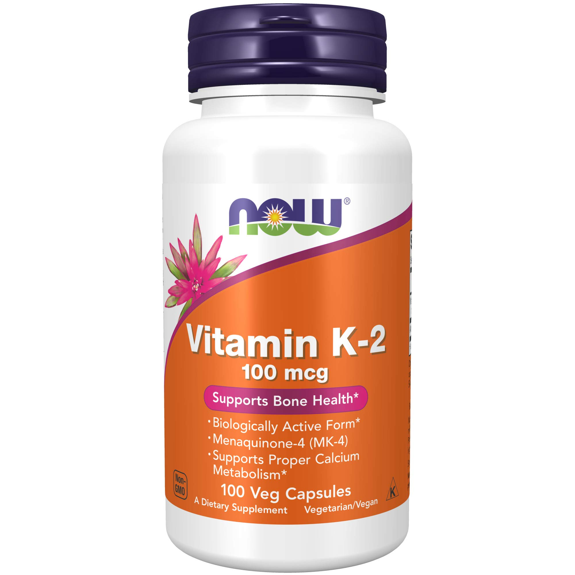Now Foods Supplements Vitamin K2 mcg Menaquinone4 MK4 Supports Bone Health Veg Capsules, 100 Count
