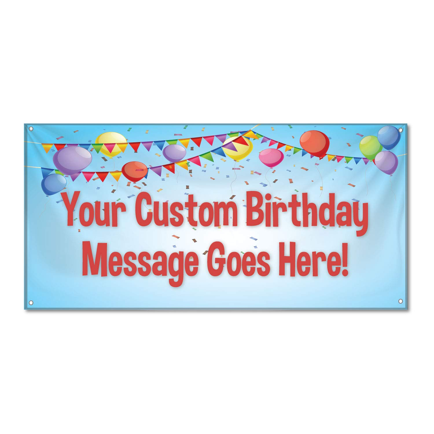 HALF PRICE BANNERS |Custom Birthday Confetti Vinyl Banner-Heavy Duty Outdoor 3X5 foot-Blue|Includes Ball Bungees & Zip Ties|Easy Hang -Made in the USA