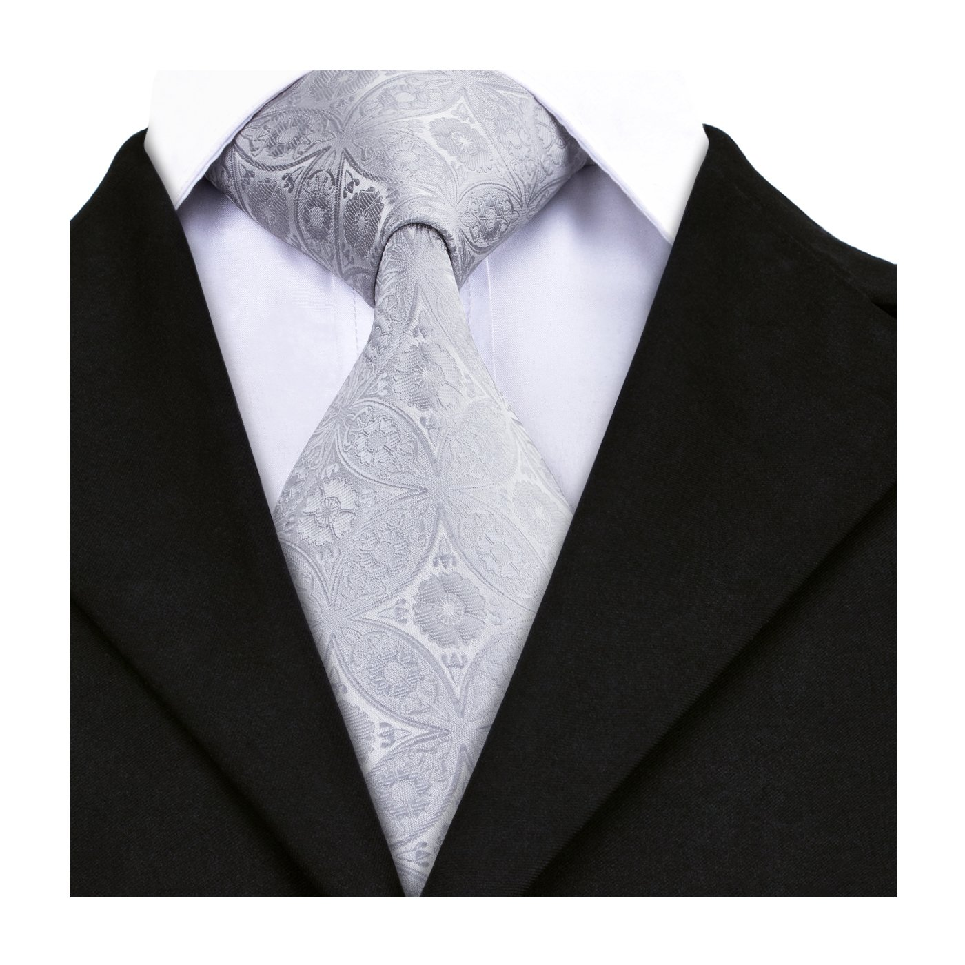 Barry.Wang Paisley Ties Gray Necktie for Men Business Wedding Party Solid Tie Classic