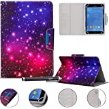 """Universal Case for 9-10.5 inch Tablet, Newshine Stand Folio Case Protective Cover for 9"""" 10.1"""" Touchscreen Tablet, with Multiple Viewing Angles, Card/Cash Pocket - Purple Twinkle"""