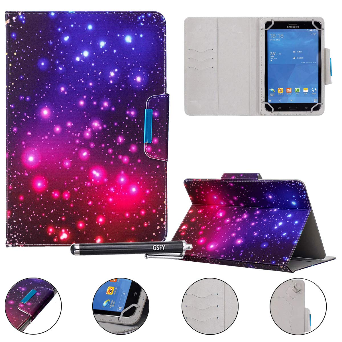 "Universal Case for 9-10.5 inch Tablet, Newshine Stand Folio Case Protective Cover for 9"" 10.1"" Touchscreen Tablet, with Multiple Viewing Angles, Card/Cash Pocket - Purple Twinkle"