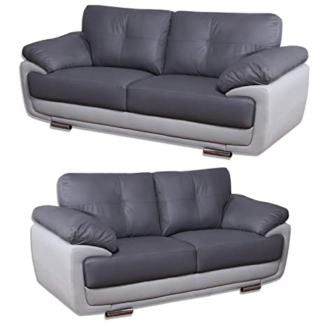 Mansfield Two Tone Grey Leather Sofas (All combinations available) (3+2  Seater)