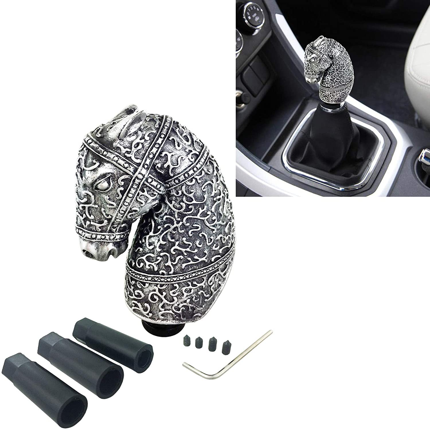 Arenbel Automatic Button Gear Shift knob Long Style Car Stick Shifting Shifter Lever Knobs fit Most Manual Vehicle Blue
