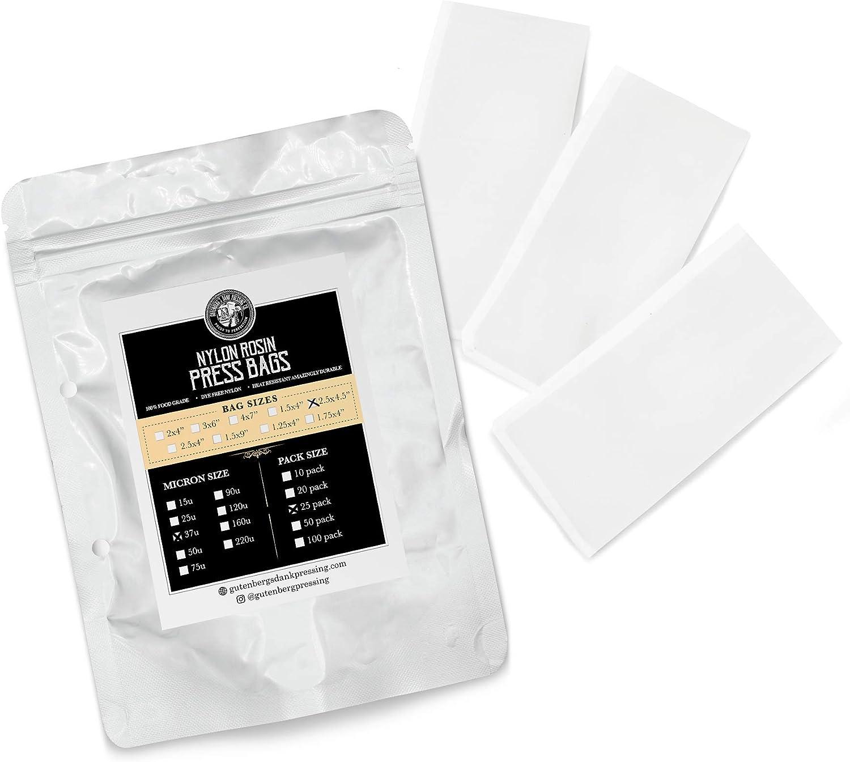 Gutenberg's Dank Pressing Co 2.5x4.5 inch premium rosin bags 25-50 Packs | rosin press bags | dab press nylon micron bags | All Micron Sizes (25-Pack, 37 Micron)