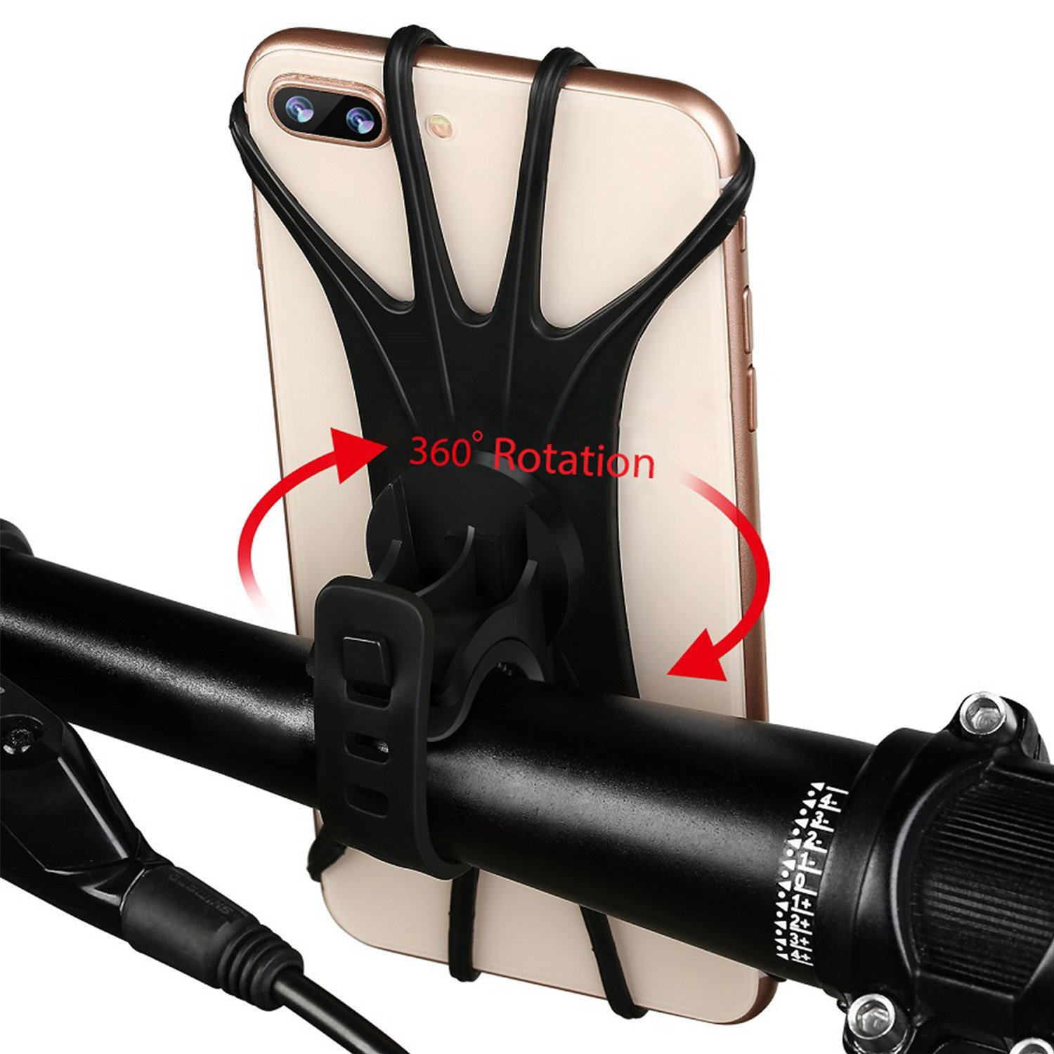 Aonkey Universal Bike Phone Mount, Bicycle Handlebar Cell Phone Holder for iPhone X/ 8/ 8 Plus/ 7/ 7 Plus/ 6 6S/ 6 6S Plus/ 5S SE, Samsung Galaxy S8 and Other 4'' to 5.8'' Mobile Phone