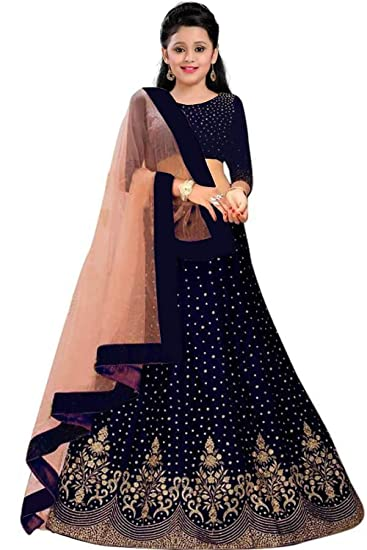 Buy Kids Girls Lehenga Choli For Party Wear 10 To 13 Years 10 11 Years Nevy Blue At Amazon In