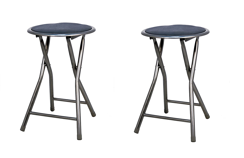 La Silla Española The Spanish Chair Palm Pack of Stools Folding Padded, Aluminium, black, 30x 30x 45cm, Set of 2 JJJ0022NGX3