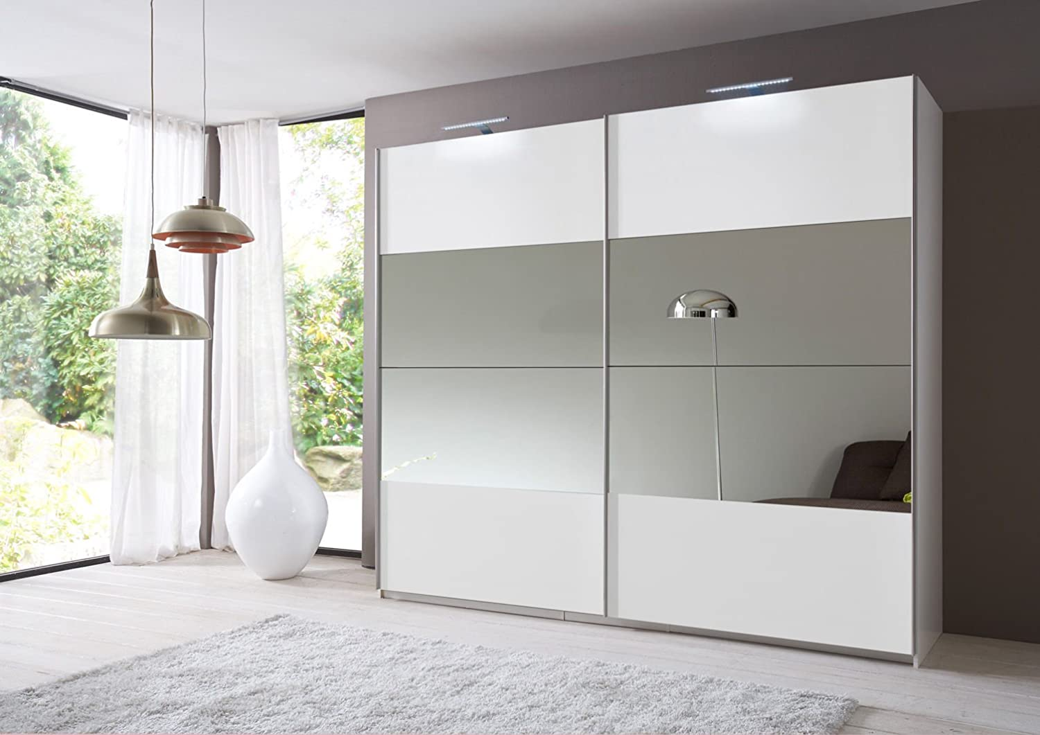 Eleganz Slumberhaus German Made 225cm Sliding Mirror Door Wardrobe 2