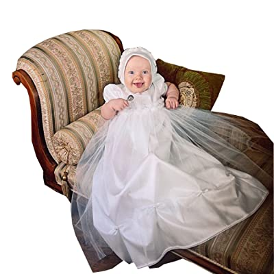 Kelaixiang Bishop Sleeves Baby Christening Dress White Tulle Applique with Bonnet