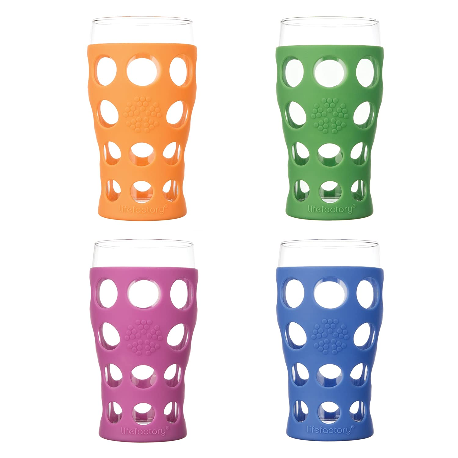 Lifefactory LF340400C4 BPA-Free Glassware 4-Pack withProtective Silicone Sleeve Indoor and Outdoor Wine Glas 20 oz Multicolor