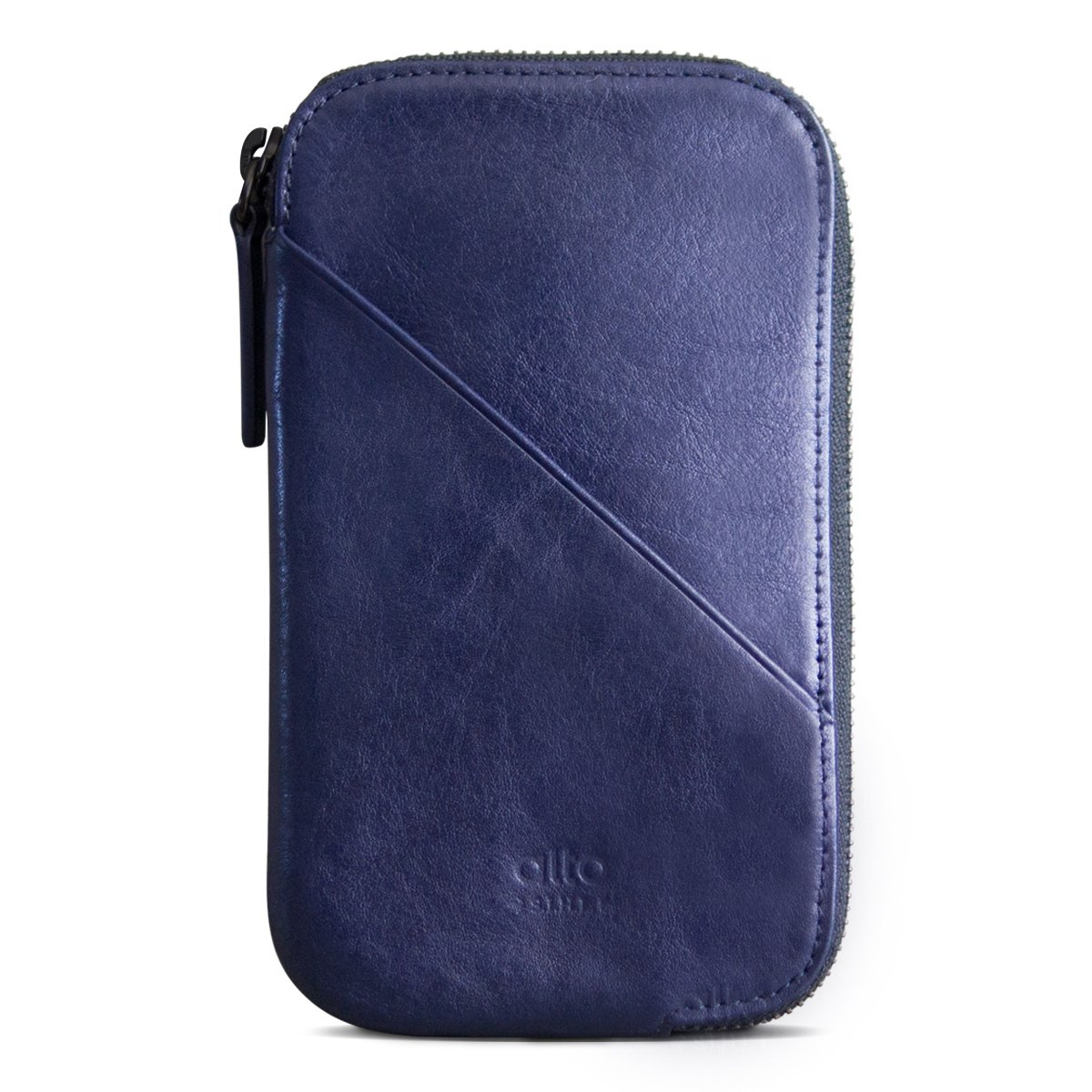 alto Handmade Premium Italian Leather for Apple iPhone 7 / iPhone 7 Plus / iPhone 8 / iPhone 8 Plus / iPhone X Travel Phone Wallet (Navy)