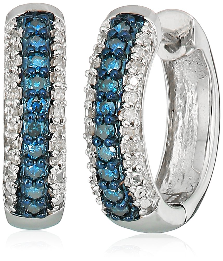 Sterling Silver Blue and White Diamond Hoop Earrings (1/4 cttw)