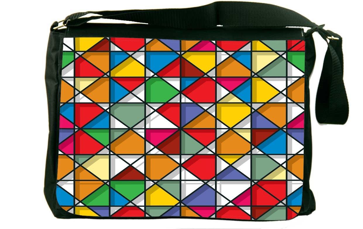 Rikki Knight Stained Glass Pattern Design Messenger Bag - Shoulder Bag - School Bag for School or Work