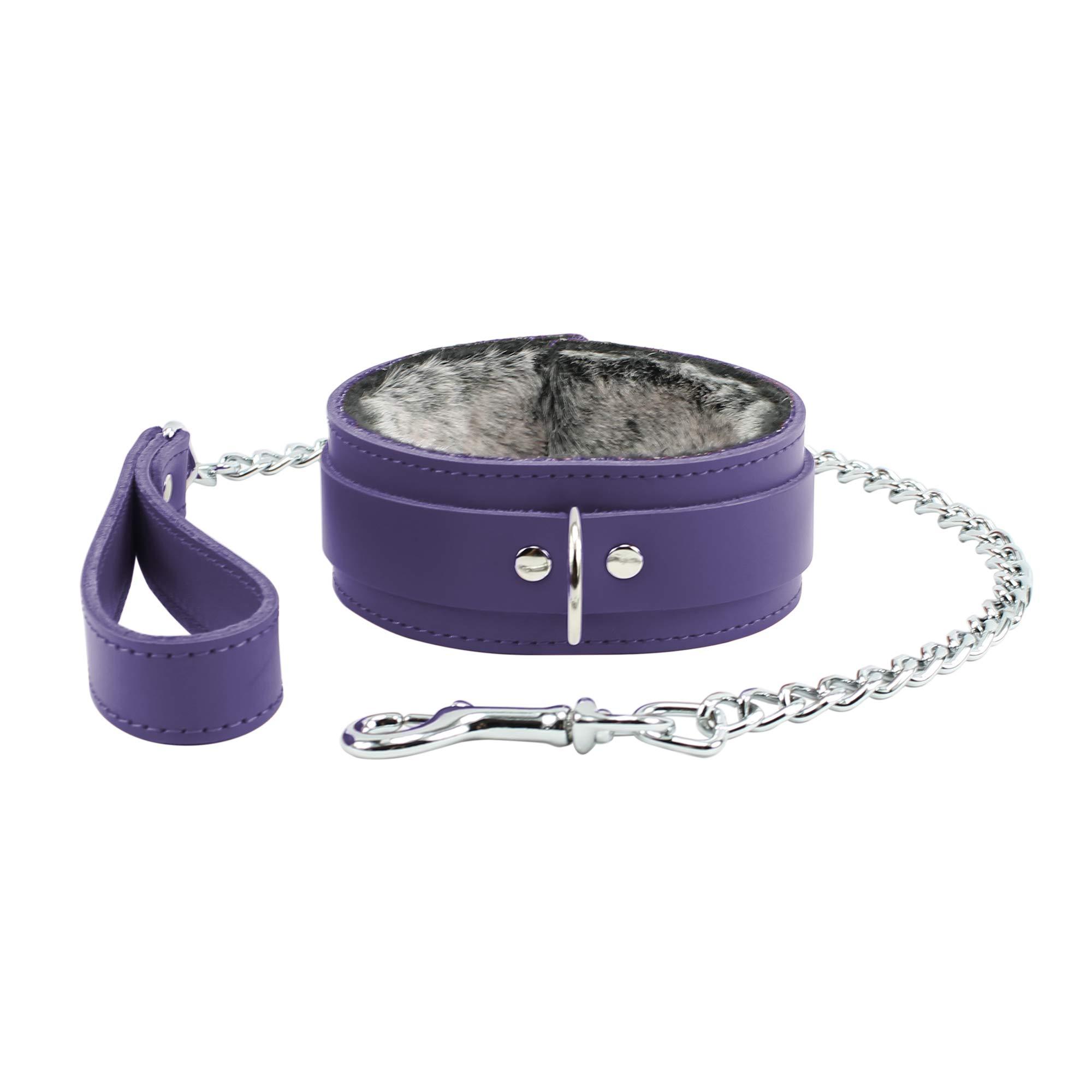 Atlas Collar And Leash Handcrafted Premium Latigo Leather Soft Fur Lining (Royal Purple)