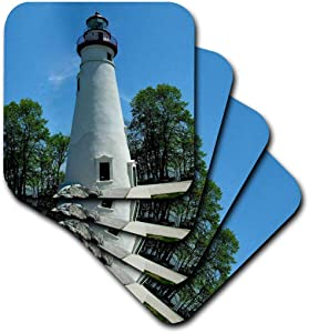 3dRose cst_61708_2 Marblehead Lighthouse Looking Over Lake Erie-Soft Coasters, Set of 8
