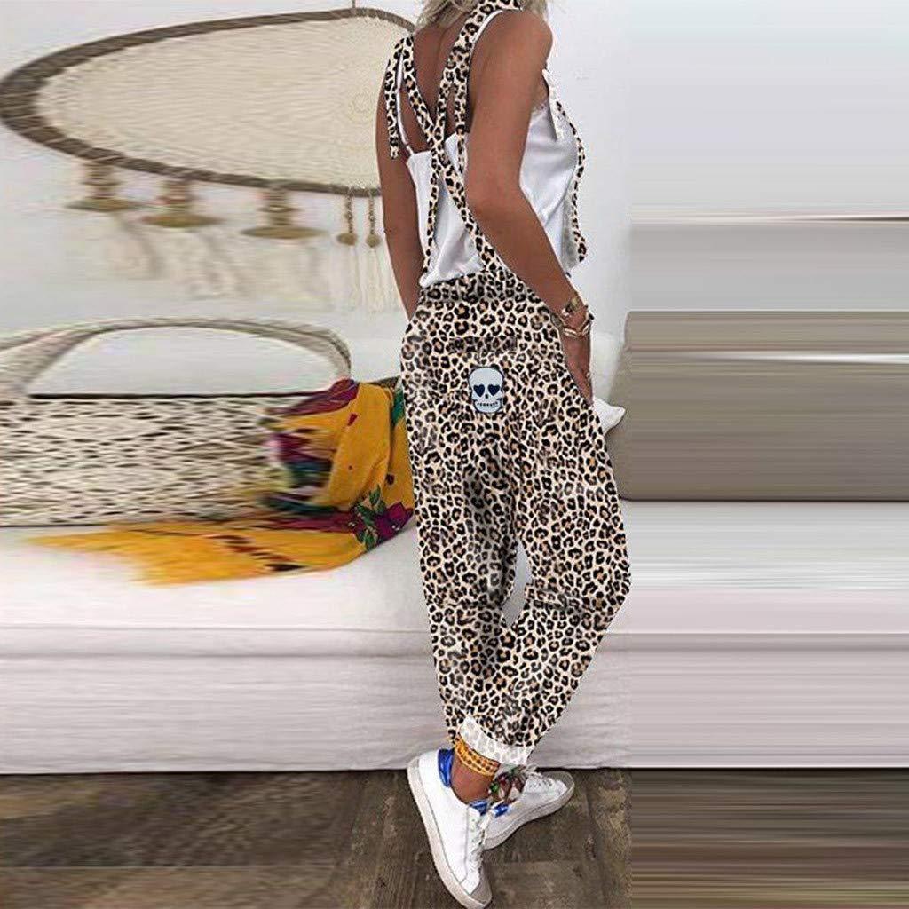 Tuta A Strisce Donna Sottile Fit Straight Pantaloni Casual Senza Maniche Tuta Leopardo Modella