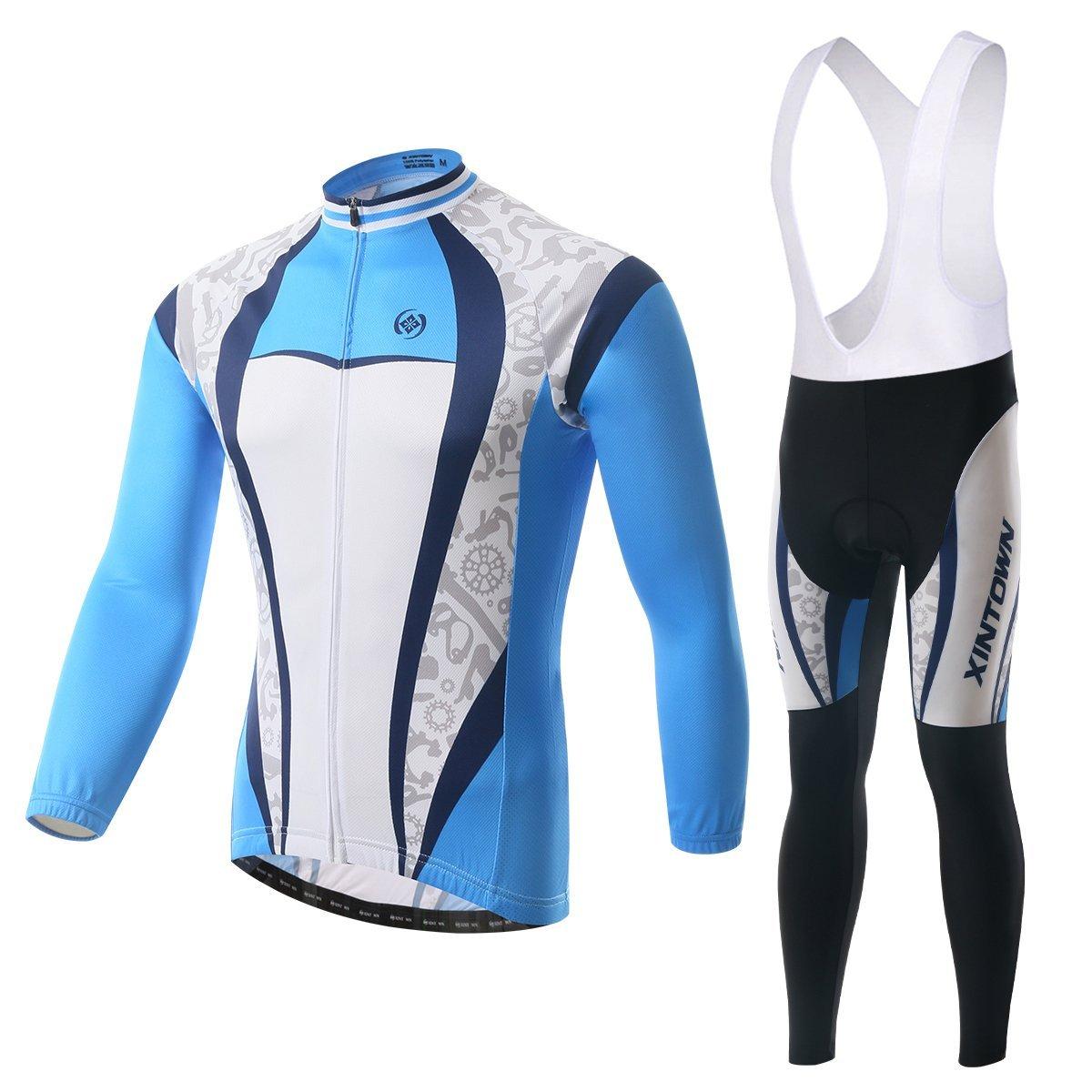 besylユニセックスPrintedハイパフォーマンスメッシュサイクリング服スーツ、通気性長袖サイクリングジャージーとよだれかけのパッド入りパンツキット自転車自転車乗馬Biker (ブルー濃い青色ホワイトグレー) B018G5YU1K XXL (US XL)|Fleece-Bib-Long-Set Fleece-Bib-Long-Set XXL (US XL)