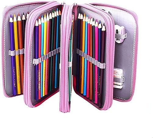 Boomly Chica Estuche Escolar Grosse Capacidad 72 Portalápiz Estuche Portátil 4 Capas Abocetar coloración lápiz Bolsa con Cremallera para el Colegio, Oficina: Amazon.es: Hogar