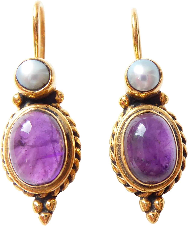 Pendientes de amatista, color lila, perlas de agua dulce, colgante auténtico con cierre, plata chapada en oro, elegante, retro, vintage, hecho a mano, único regalo