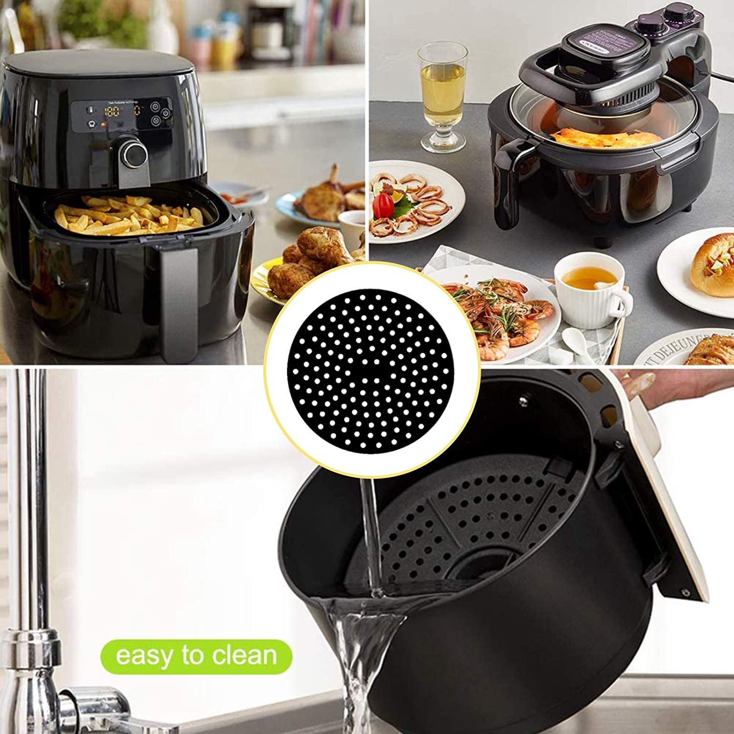 Reusable Air Fryer Liners – 8 Inch, Round shape, Non-Stick Silicone Air Fryer Basket Mats   Air Fryer Accessories Can be used with air fryer   BPA Free(2PCS)
