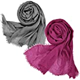 07f8785588fa3 Wobe 2pcs Women Soft Cotton Hemp Scarf Shawl Long Scarves, Travel Sunscreen  Pashmina Fancy Stylish