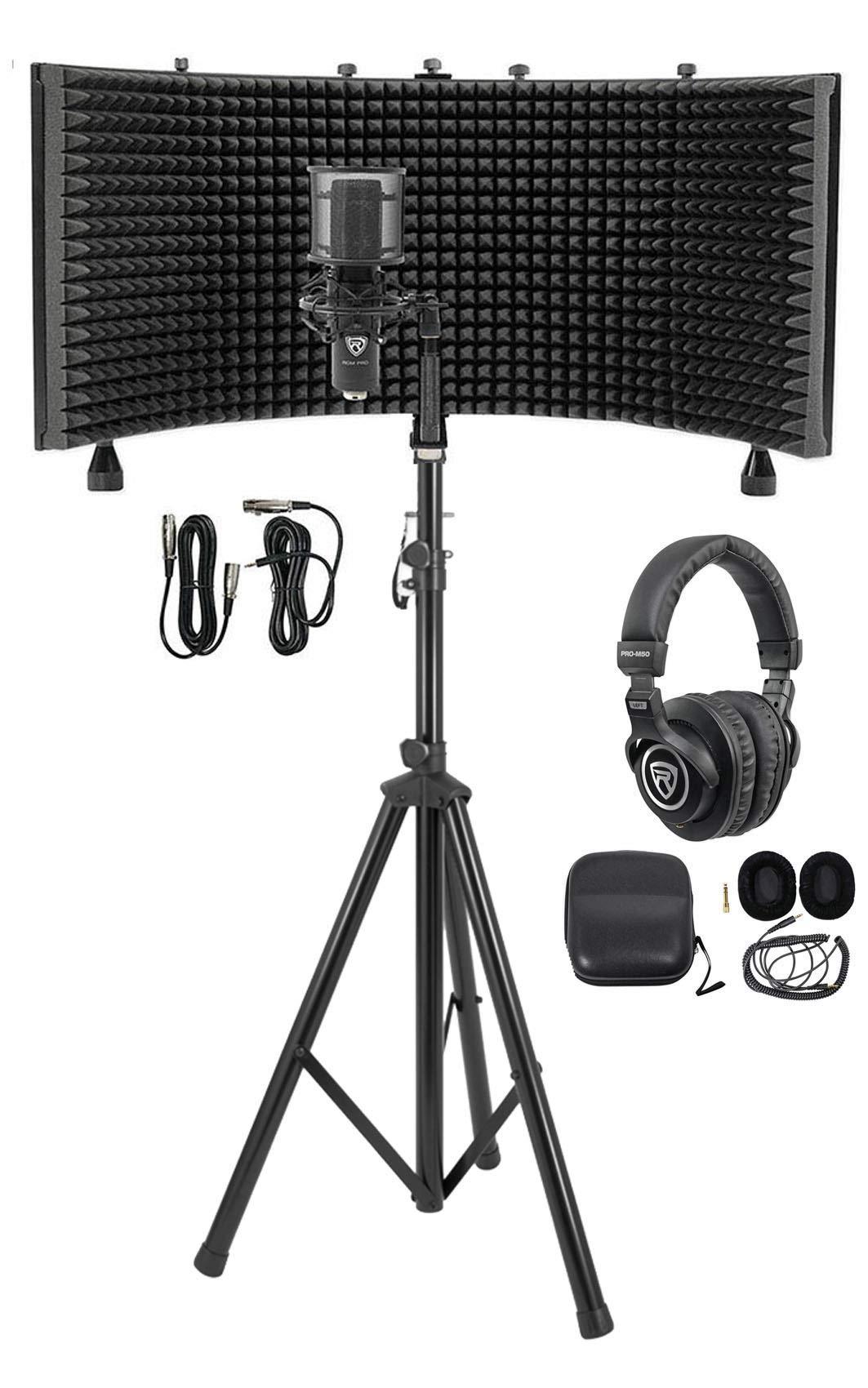 Rockville Pro Recording Studio Microphone Mic+Isolation Shield+Headphones+Stand