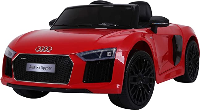 Comprar HOMCOM Coche Eléctrico para Niño Mayores de 3 años Audi R8 con Mando a Distancia MP3 USB Luces y Sonidos Apertura de Puerta 123x71x49cm Carga 30kg