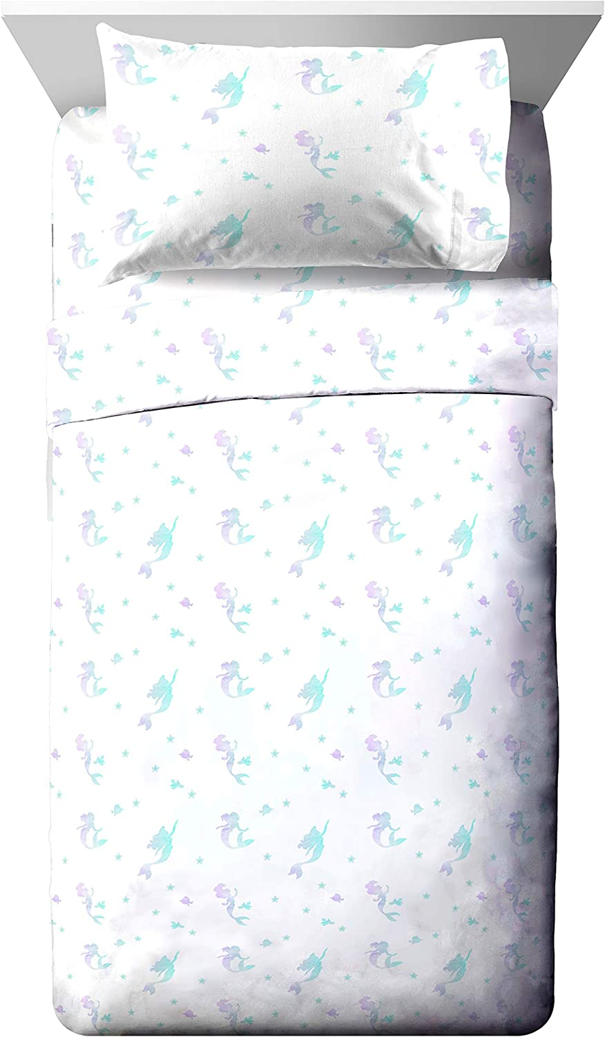 Jay Franco Disney Little Mermaid Make A Splash Twin Sheet Set - 3 Piece Set Super Soft and Cozy Kid's Bedding Features Ariel - Fade Resistant Microfiber Sheets (Official Disney Product)