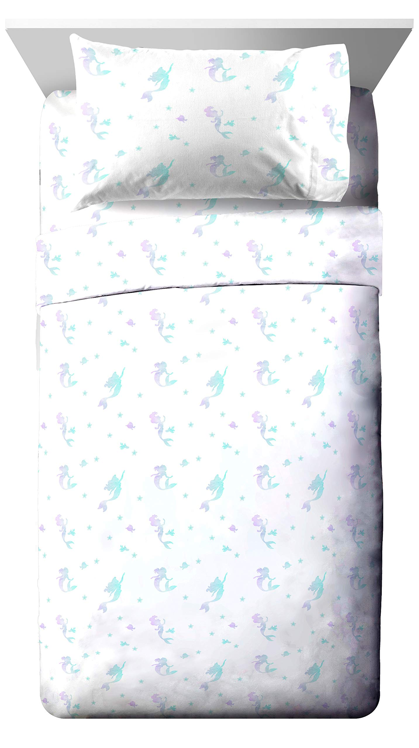 Jay Franco Disney Little Mermaid Make A Splash Full Sheet Set - 4 Piece Set Super Soft and Cozy Kid's Bedding Features Ariel - Fade Resistant Microfiber Sheets (Official Disney Product)
