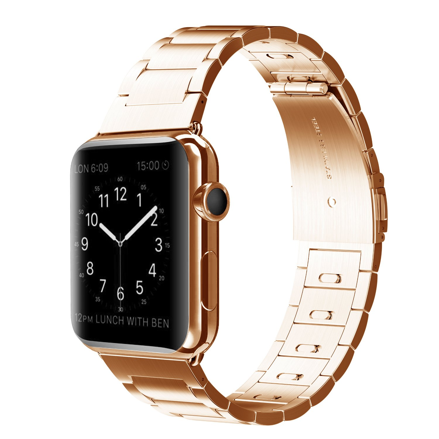 Amazon com elobeth for apple watch band iwatch band apple watch stainless steel watch band move links by hand adapter for apple watch series 2 series