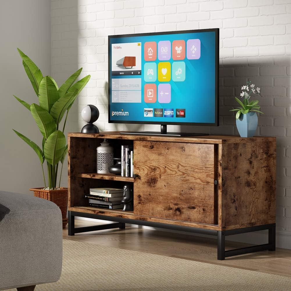 Soporte de TV para televisores de hasta 48 pulgadas, mesa de TV con Puertas Correderas para sala de estar Centro de entretenimiento: Amazon.es: Hogar