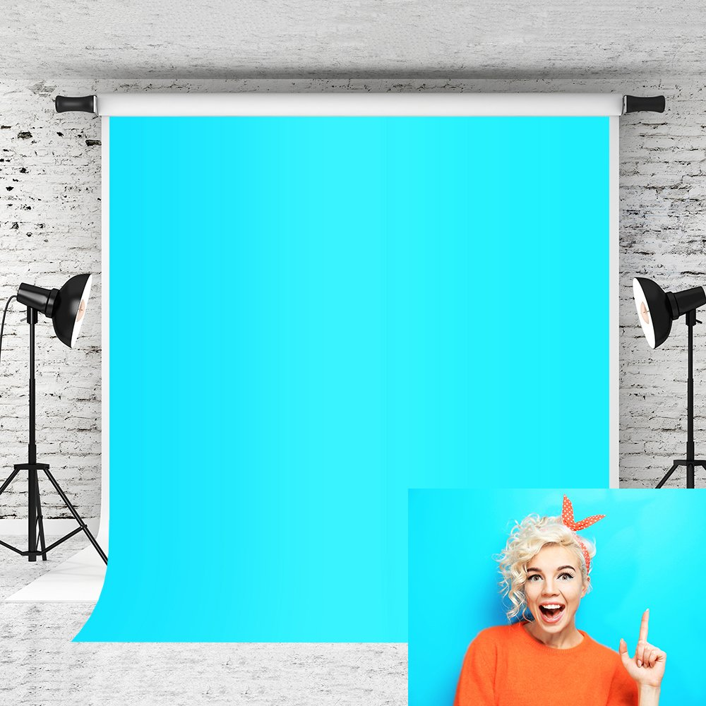 Kate 6.5x10ft Bright Blue Backdrops Pure Color Solid Baby Photo Background Photographer Portrait Studio Prop Customized by Kate