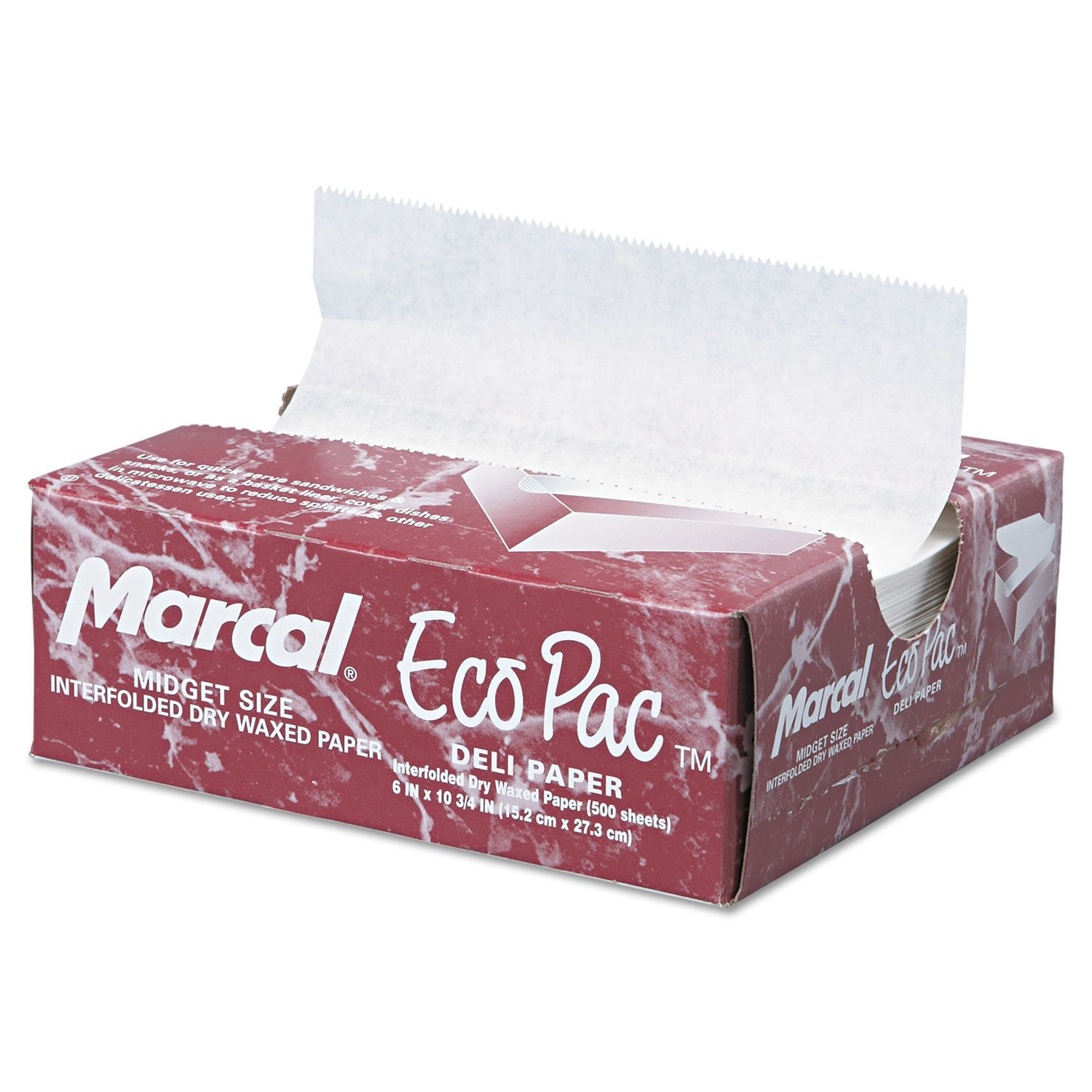 Marcal 5290 Eco-Pac Interfolded Dry Wax Paper 6 x 10 3/4 White 500/Pack 12 Packs/Carton