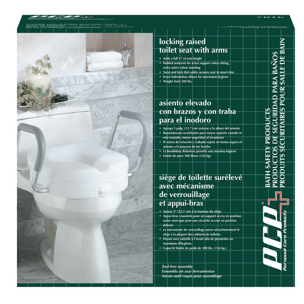 Amazon.com: PCP Molded Toilet Seat Riser Lift with Detachable Arms ...
